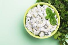 Ινδικό raita αγγουριών με το γιαούρτι, μέντα, cilantro Ελληνικό tzatzi Στοκ εικόνες με δικαίωμα ελεύθερης χρήσης