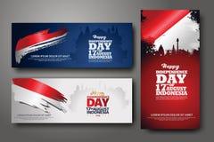 Ινδονησιακό σύνολο εμβλημάτων εορτασμού ημέρας της ανεξαρτησίας απεικόνιση αποθεμάτων