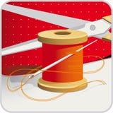 λινό καμβά κουμπιών που μετρά την καθορισμένη ράβοντας ταινία προμηθειών ψαλιδιού διανυσματική απεικόνιση