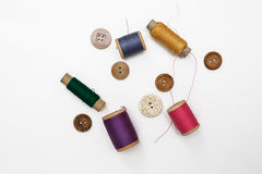 λινό καμβά κουμπιών που μετρά την καθορισμένη ράβοντας ταινία προμηθειών ψαλιδιού Στοκ φωτογραφία με δικαίωμα ελεύθερης χρήσης