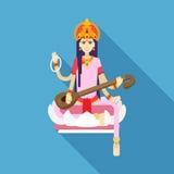Ινδή θεά Saraswati επίπεδο Στοκ Εικόνες