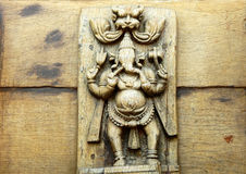 Ινδή ξύλινη γλυπτική Ganesha Θεών Στοκ φωτογραφία με δικαίωμα ελεύθερης χρήσης