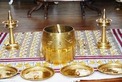 Ινδή ρύθμιση γαμήλιας λειτουργίας του Κεράλα Στοκ Φωτογραφία