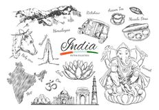 Ινδία Ινδικά διανυσματικά συρμένα χέρι σύμβολα κληρονομιάς της Ινδίας Ganesh, OM, Namaste, Δελχί, αγελάδα Απομονωμένα αντικείμενα απεικόνιση αποθεμάτων