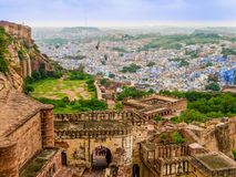 Ινδία, πανοραμική άποψη του Jodhpur, η μπλε πόλη Στοκ Φωτογραφίες