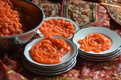 Ινδικά γλυκά κέικ χοανών Jalebi Στοκ Εικόνα