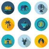 Ινδικά εικονίδια με το διανυσματικό σχήμα Στοκ εικόνα με δικαίωμα ελεύθερης χρήσης
