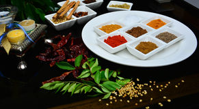 Ινδικά και μαγειρεύοντας καρυκεύματα Στοκ Εικόνες