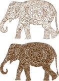 Ινδικά σχέδια ελεφάντων ελεύθερη απεικόνιση δικαιώματος