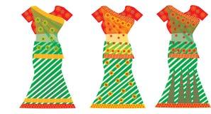 Ινδικά φορέματα, απεικόνιση Στοκ Εικόνα