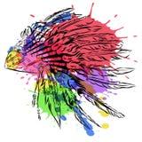 Ινδικά headdress αμερικανών ιθαγενών με τα φτερά σε ένα ύφος σκίτσων Για την ημέρα των ευχαριστιών Διανυσματική απεικόνιση waterc ελεύθερη απεικόνιση δικαιώματος