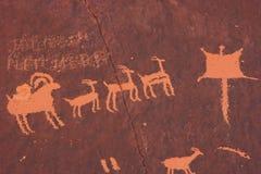 Ινδικά petroglyphs, κρατικό ιστορικό μνημείο βράχου εφημερίδων, Γιούτα, ΗΠΑ Στοκ Εικόνες