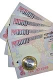 Ινδικές σημειώσεις ρουπίων νομίσματος της αξίας 1000 και του νομίσματος Στοκ εικόνα με δικαίωμα ελεύθερης χρήσης