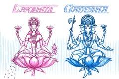 Ινδική θεά Lakshmi και Ganesha στο περιγραμματικό βλέμμα Στοκ Φωτογραφία
