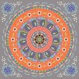 Ινδική διακόσμηση, κυκλικό σχέδιο στο εθνικό ύφος Στοκ εικόνα με δικαίωμα ελεύθερης χρήσης