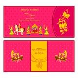 Ινδική κάρτα γαμήλιας πρόσκλησης διανυσματική απεικόνιση