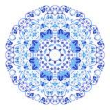 Ινδική στρογγυλή διακόσμηση, kaleidoscopic floral σχέδιο, mandala Σχέδιο που γίνεται στο ρωσικά ύφος και τα χρώματα gzhel Στοκ εικόνα με δικαίωμα ελεύθερης χρήσης