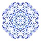Ινδική στρογγυλή διακόσμηση, kaleidoscopic floral σχέδιο, mandala Σχέδιο που γίνεται στο ρωσικά ύφος και τα χρώματα gzhel Στοκ φωτογραφία με δικαίωμα ελεύθερης χρήσης