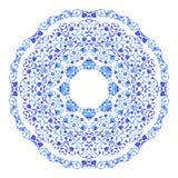 Ινδική στρογγυλή διακόσμηση, kaleidoscopic floral σχέδιο, mandala Σχέδιο που γίνεται στο ρωσικά ύφος και τα χρώματα gzhel Στοκ Φωτογραφίες