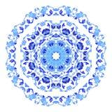 Ινδική στρογγυλή διακόσμηση, kaleidoscopic floral σχέδιο, mandala Σχέδιο που γίνεται στο ρωσικά ύφος και τα χρώματα gzhel Στοκ Εικόνες
