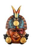 Ινδική των Μάγια των Αζτέκων κεραμική χρωματισμένη μάσκα που απομονώνεται στο λευκό Στοκ Εικόνα