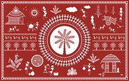 Ινδική φυλετική ζωγραφική Ζωγραφική Warli διανυσματική απεικόνιση
