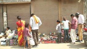 Ινδικοί λαοί στην αγορά οδών φιλμ μικρού μήκους