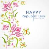 Ινδικοί εορτασμοί ημέρας Δημοκρατίας με το όμορφο floral σχέδιο απεικόνιση αποθεμάτων