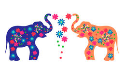 Ινδικοί ελέφαντες με τα λουλούδια Διαφήμιση των αγαθών από την Ινδία Στοκ φωτογραφίες με δικαίωμα ελεύθερης χρήσης