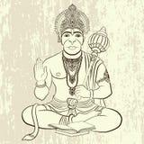 Ινδικός Θεός Hanuman με το πρόσωπο πιθήκων ελεύθερη απεικόνιση δικαιώματος