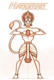 Ινδικός Θεός Hanuman στο περιγραμματικό βλέμμα Στοκ φωτογραφία με δικαίωμα ελεύθερης χρήσης