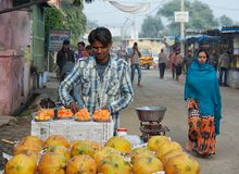 Ινδικός πωλητής φρούτων Στοκ Εικόνες