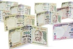 Ινδικό απαγορευμένο νόμισμα της ρουπίας 1000, 500 Στοκ Εικόνες