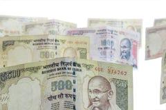 Ινδικό απαγορευμένο νόμισμα της ρουπίας 1000, 500 Στοκ Φωτογραφίες