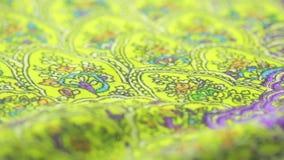 Ινδικό κλωστοϋφαντουργικό προϊόν με τη διακόσμηση Κινηματογράφηση σε πρώτο πλάνο ύφασμα που χρωματίζεται απόθεμα βίντεο