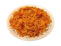 Ινδικό πιάτο - νουντλς κοτόπουλου Στοκ Εικόνες