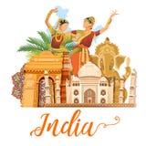 Ινδικό πρότυπο ταξιδιού στο άσπρο υπόβαθρο Αγαπώ την Ινδία Διανυσματική απεικόνιση στο εκλεκτής ποιότητας ύφος διανυσματική απεικόνιση