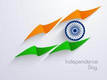 Ινδικό υπόβαθρο ημέρας της ανεξαρτησίας με τη δημιουργική εθνική σημαία δ διανυσματική απεικόνιση