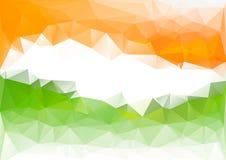 Ινδικό χαμηλό πολυ υπόβαθρο σημαιών Πορτοκαλί πράσινο λευκό Στοκ Εικόνες