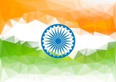 Ινδικό χαμηλό πολυ υπόβαθρο σημαιών Πορτοκαλί πράσινο λευκό Στοκ Φωτογραφία