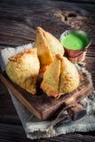 Ινδικό samosa με τα λαχανικά και το κρέας Στοκ Εικόνες