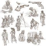 Ινδοί και άγρια δύση - ένα συρμένο χέρι πακέτο διανυσματική απεικόνιση