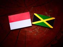Ινδονησιακή σημαία με την τζαμαϊκανή σημαία σε ένα κολόβωμα δέντρων Στοκ φωτογραφία με δικαίωμα ελεύθερης χρήσης
