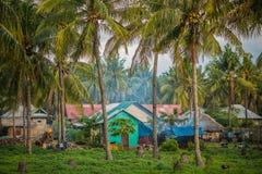 Ινδονησιακό χωριό στο άλσος φοινικών Στοκ εικόνα με δικαίωμα ελεύθερης χρήσης