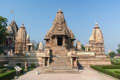 Ινδός ναός επί του δυτικού τόπου σε Khajuraho της Ινδίας. Στοκ Φωτογραφία