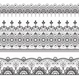 Ινδός, Henna τρία Mehndi σχέδιο στοιχείων δαντελλών γραμμών για τη δερματοστιξία στο άσπρο υπόβαθρο στοκ εικόνες