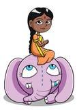 Ινδό κορίτσι με τον ελέφαντα Στοκ εικόνα με δικαίωμα ελεύθερης χρήσης