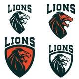 λιοντάρια Σύνολο των προτύπων εμβλημάτων με το κεφάλι λιονταριών αθλητισμός ελεύθερη απεικόνιση δικαιώματος