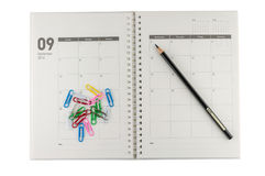 2014 διοργανωτής Σεπτεμβρίου με το μολύβι & τους συνδετήρες. Στοκ Εικόνες