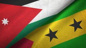 Ιορδανία και Σάο Τομέ και Πρίντσιπε δύο υφαντικό ύφασμα σημαιών, σύσταση υφάσματος διανυσματική απεικόνιση